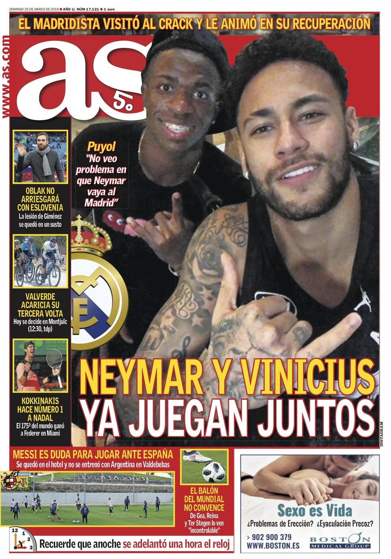 """Foto de Vinicius Júnior e Neymar é destaque na capa do """"As"""" (Foto: Reprodução/Instagram)"""