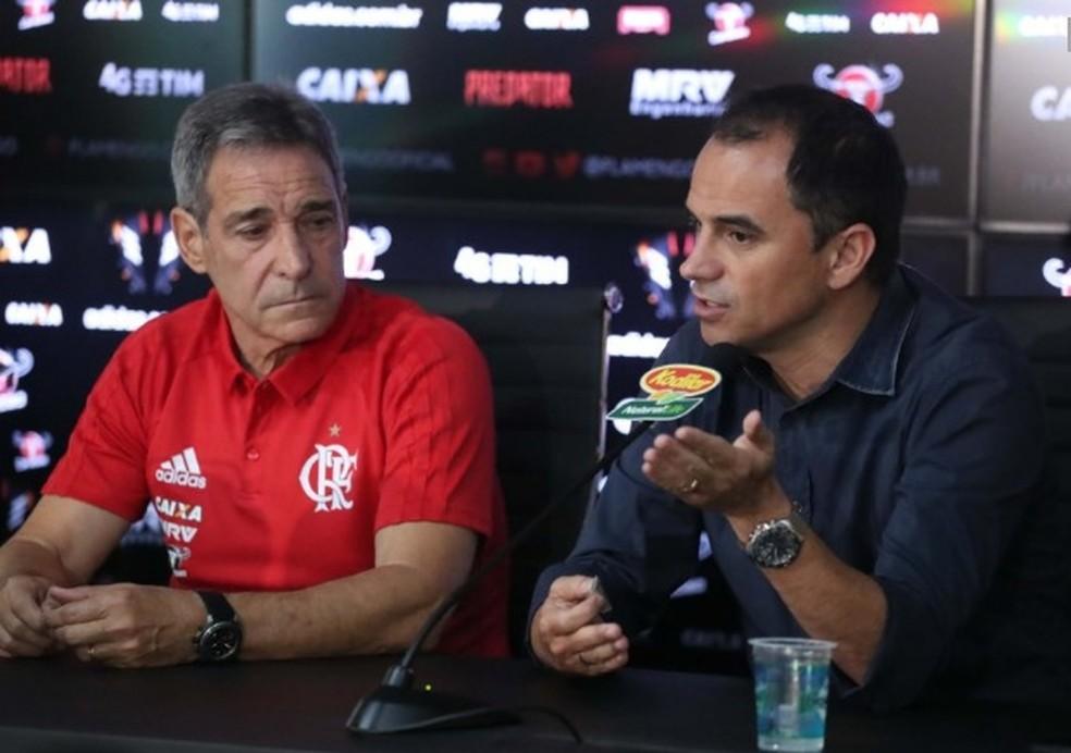 Carpegiani e Rodrigo Caetano foram demitidos um dia após a derrota para o Botafogo (Foto: Gilvan de Souza / Flamengo)